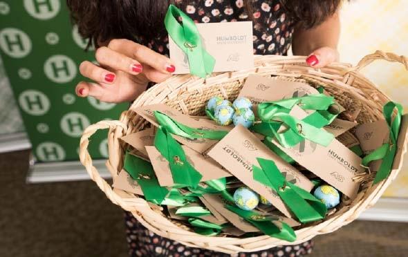 Basket of grad pledge ribbons